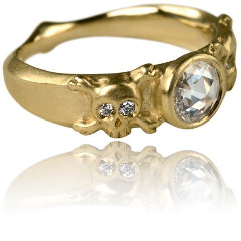 Women's skull wedding ring
